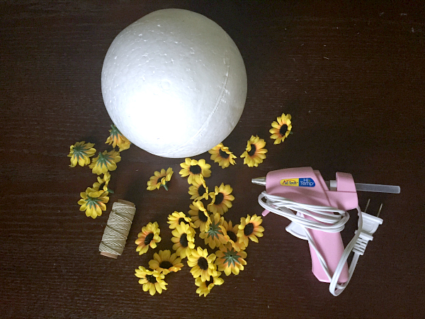 diy hanging sunflower balls