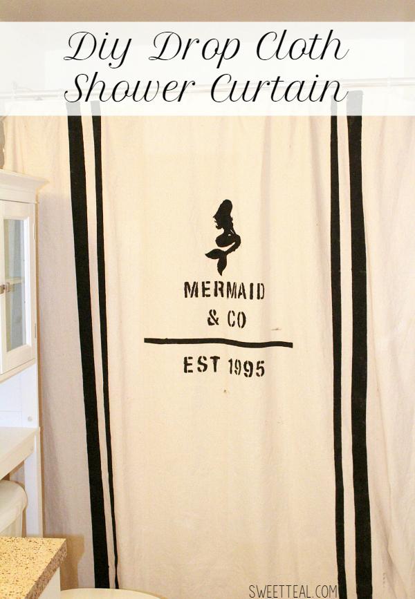 diy drop cloth mermaid shower curtain