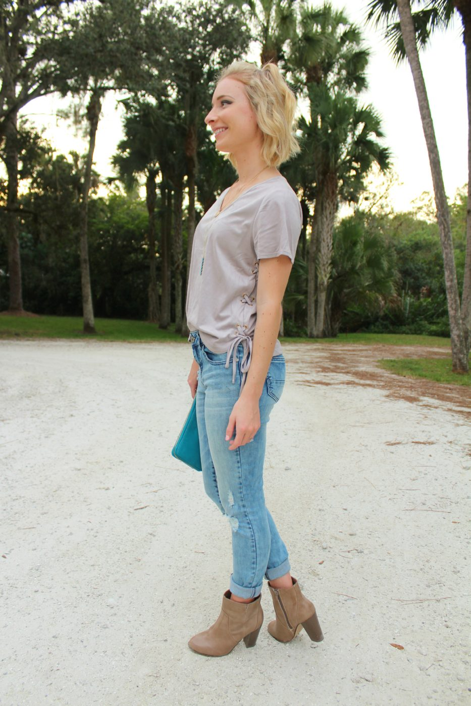 Suede, booties, and boyfriend jeans!