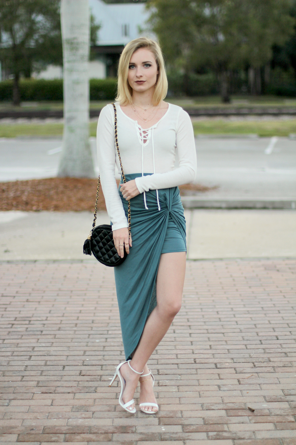 Twisted teal skirt