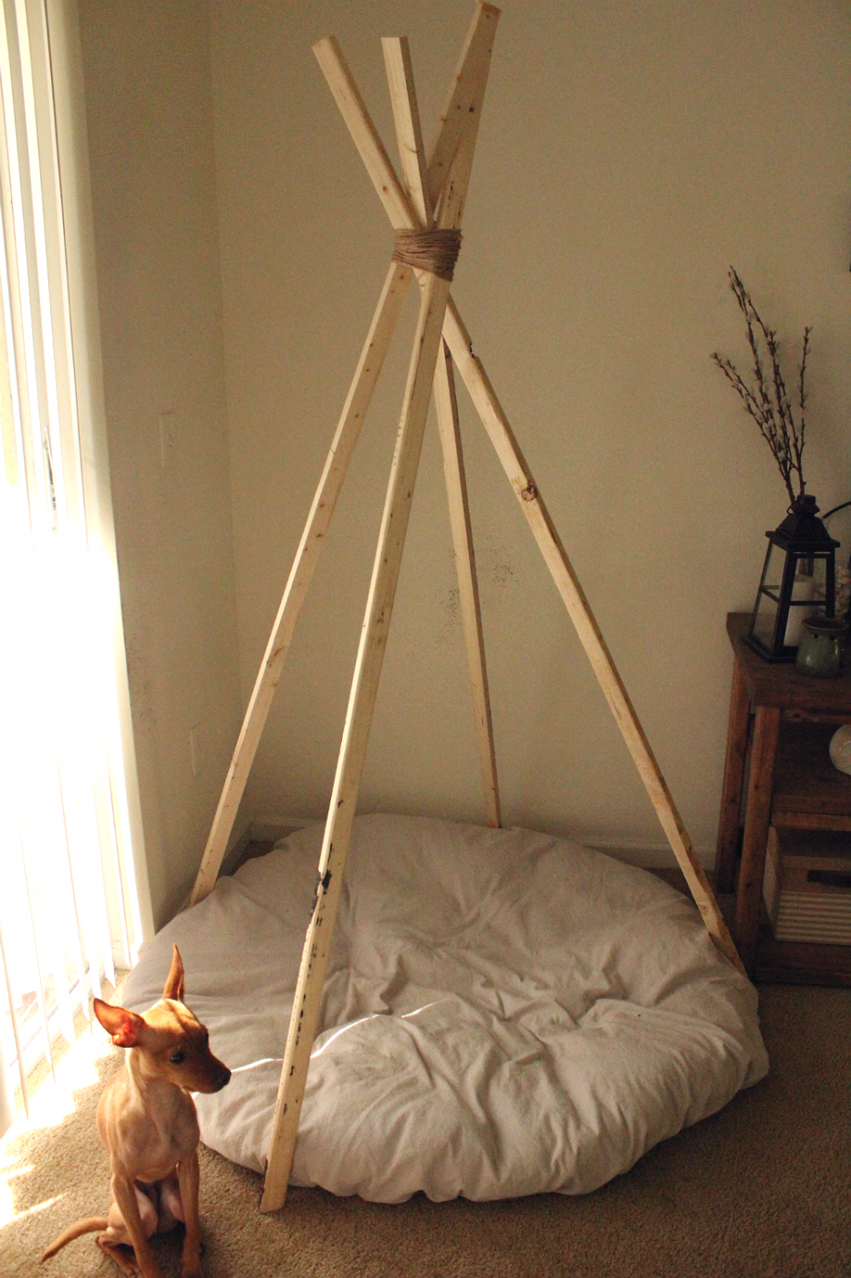 Tipi diy how to make a tipi teepee no sew for a doll diy for Diy cat teepee