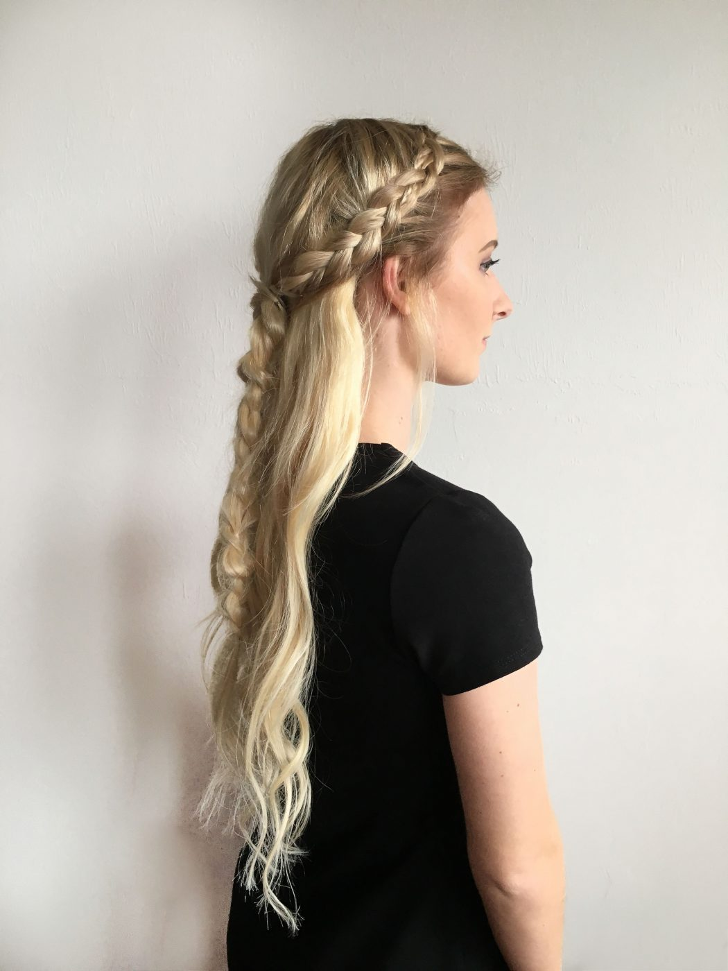 crown half up pull through braid