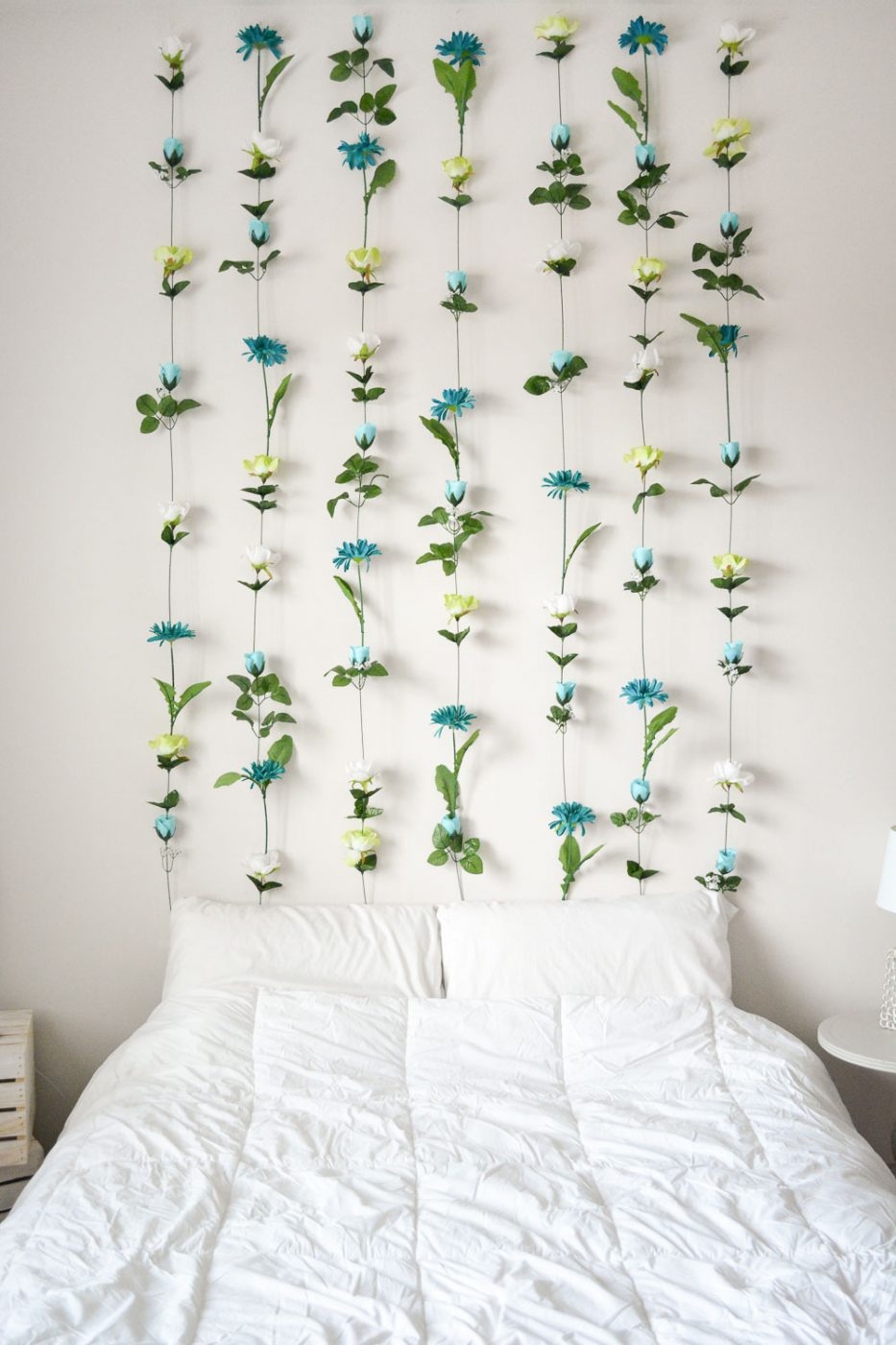 Diy flower wall headboard home decor sweet teal for Bed decoration diy
