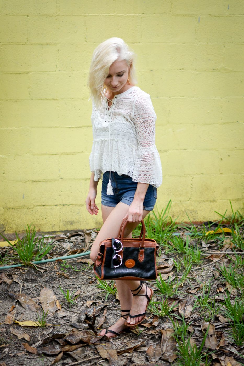 White lace top, high waisted shorts, dooney & bourke purse