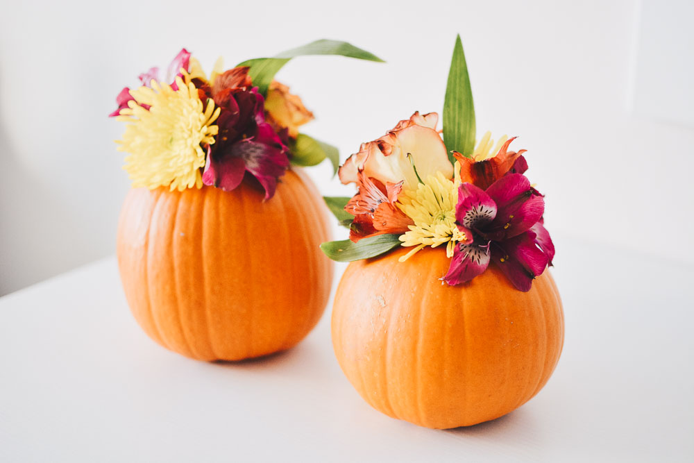 Fall DIY: Flowered Pumpkins