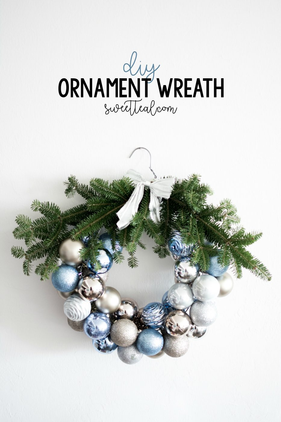 Holiday DIY Ornament Wreath Christmas Tree Branches | Sweet Teal