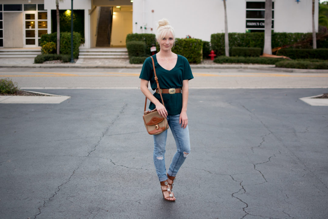 Jenny wearing teal oversized Forever 21 shirt, Maude belt, Jeans