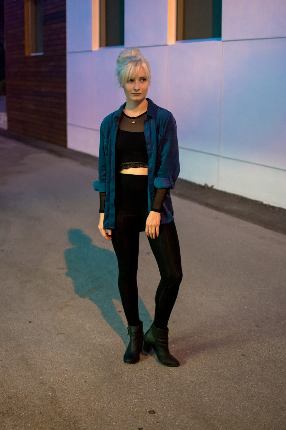 Blue velvet and black outfit by Jenny Bess at Sweet Teal