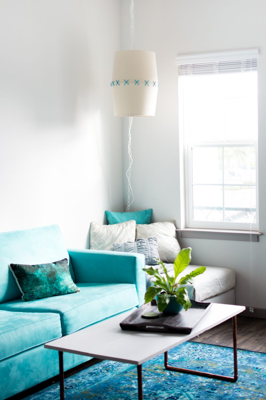 DIY Hanging Lampshade Light by Jenny Bess at Sweet Teal