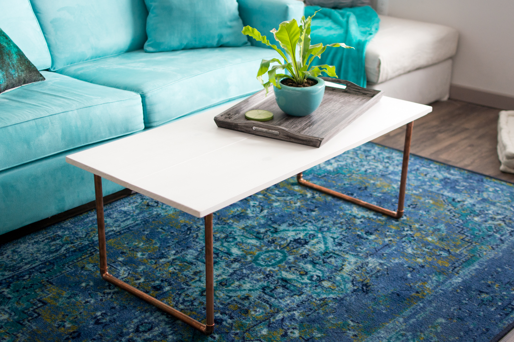 DIY Wood & Copper Coffee Table
