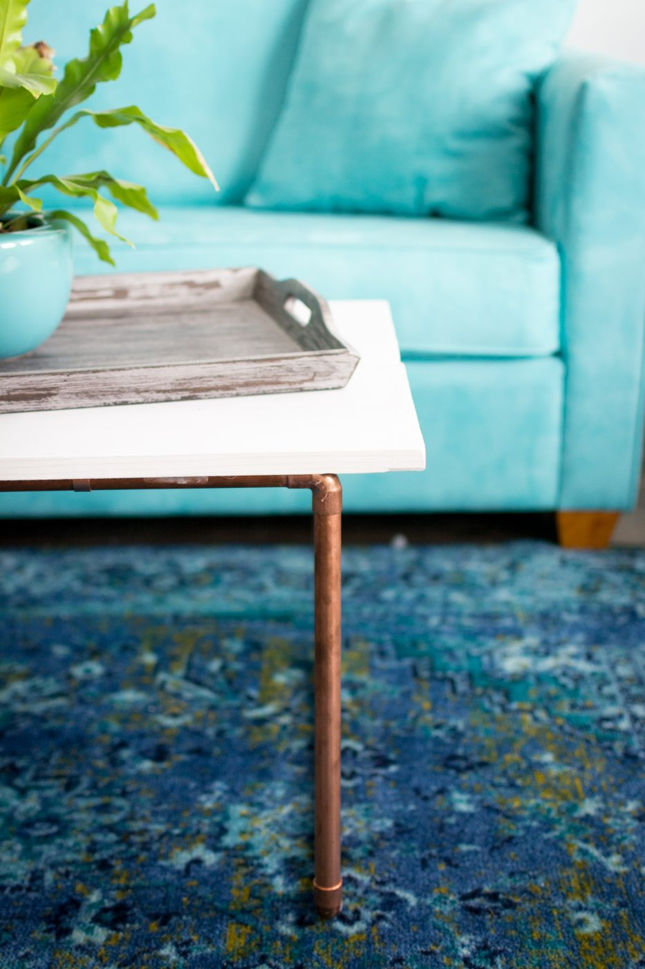 DIY Wood & Copper Coffee Table by Jenny Bess at Sweet Teal
