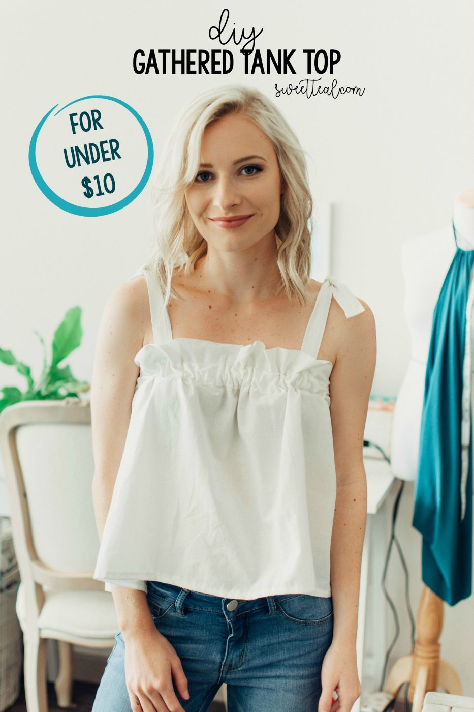 DIY Gathered Tank Top by Jenny Bess at Sweet Teal