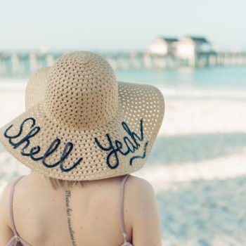 DIY Sequin Script Sun Hat at the beach