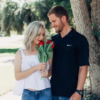 Jenny smelling tulips on Valentine's Day