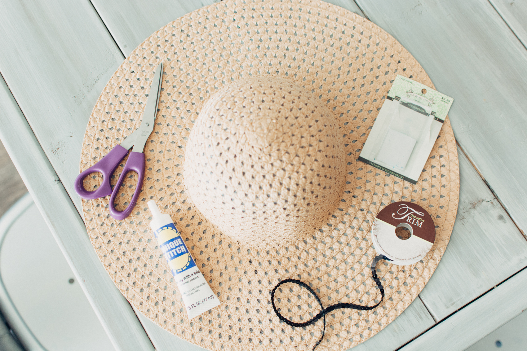 Supplies for DIY Sequin Script Sun Hat