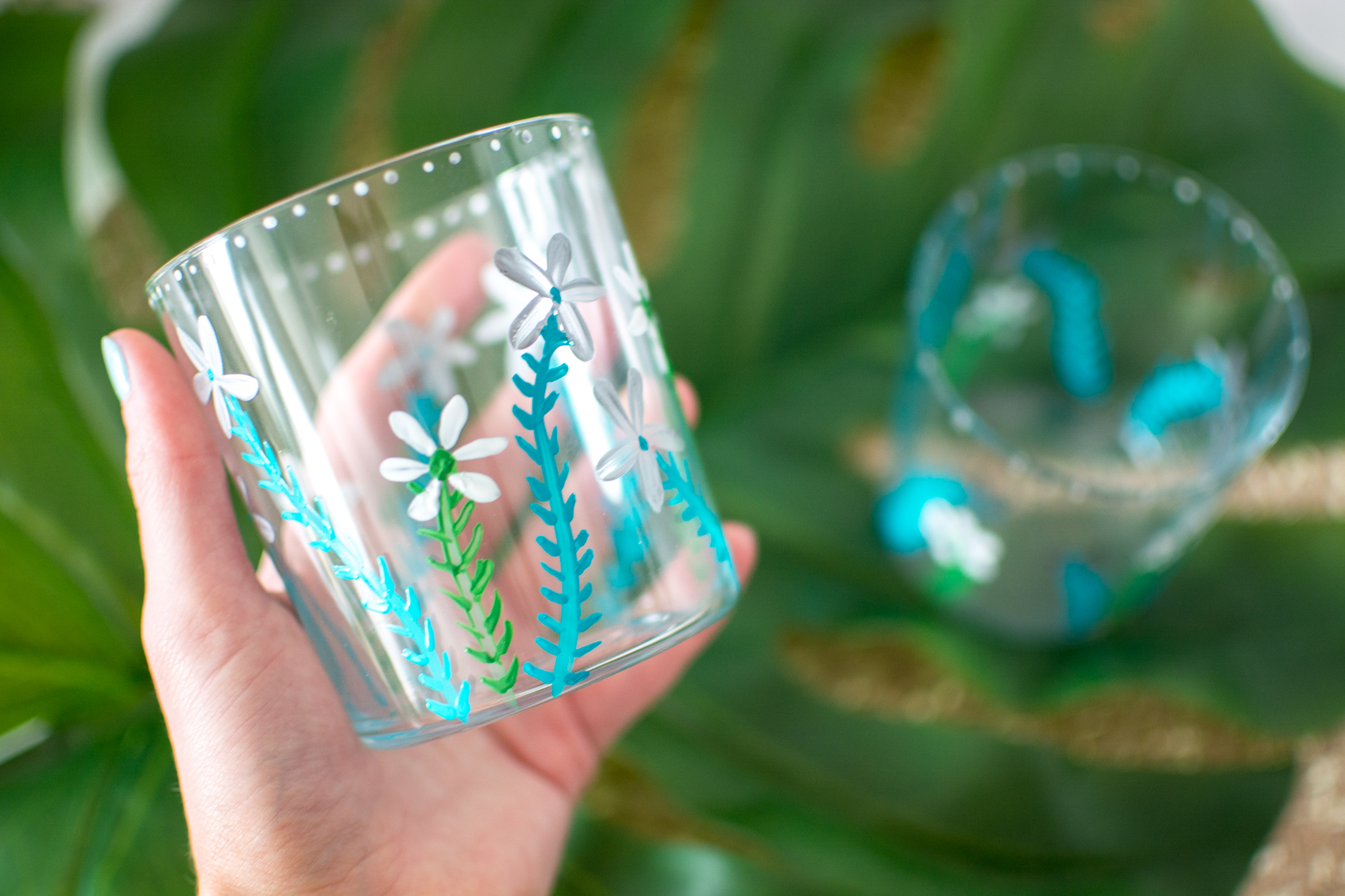 DIY painted floral cups tutorial