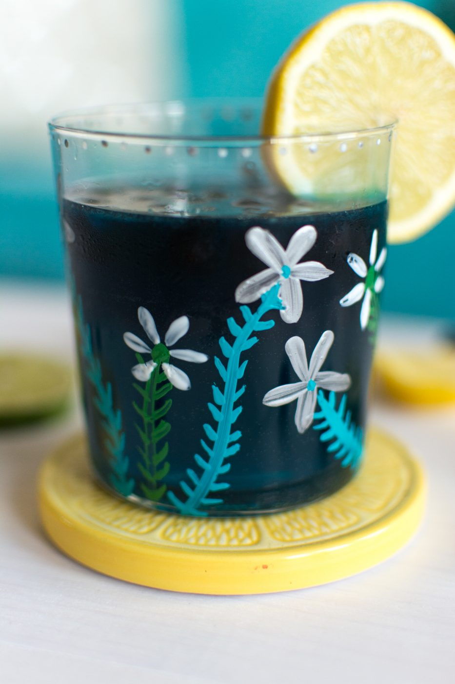 diy spring flowers painted glass