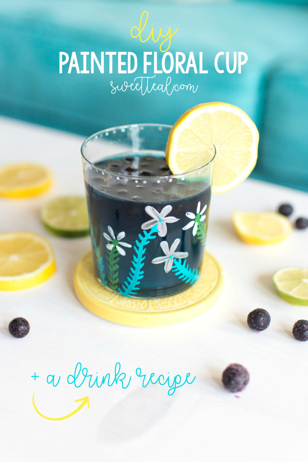 DIY painted floral cup with drink recipe by Jenny of Sweet Teal