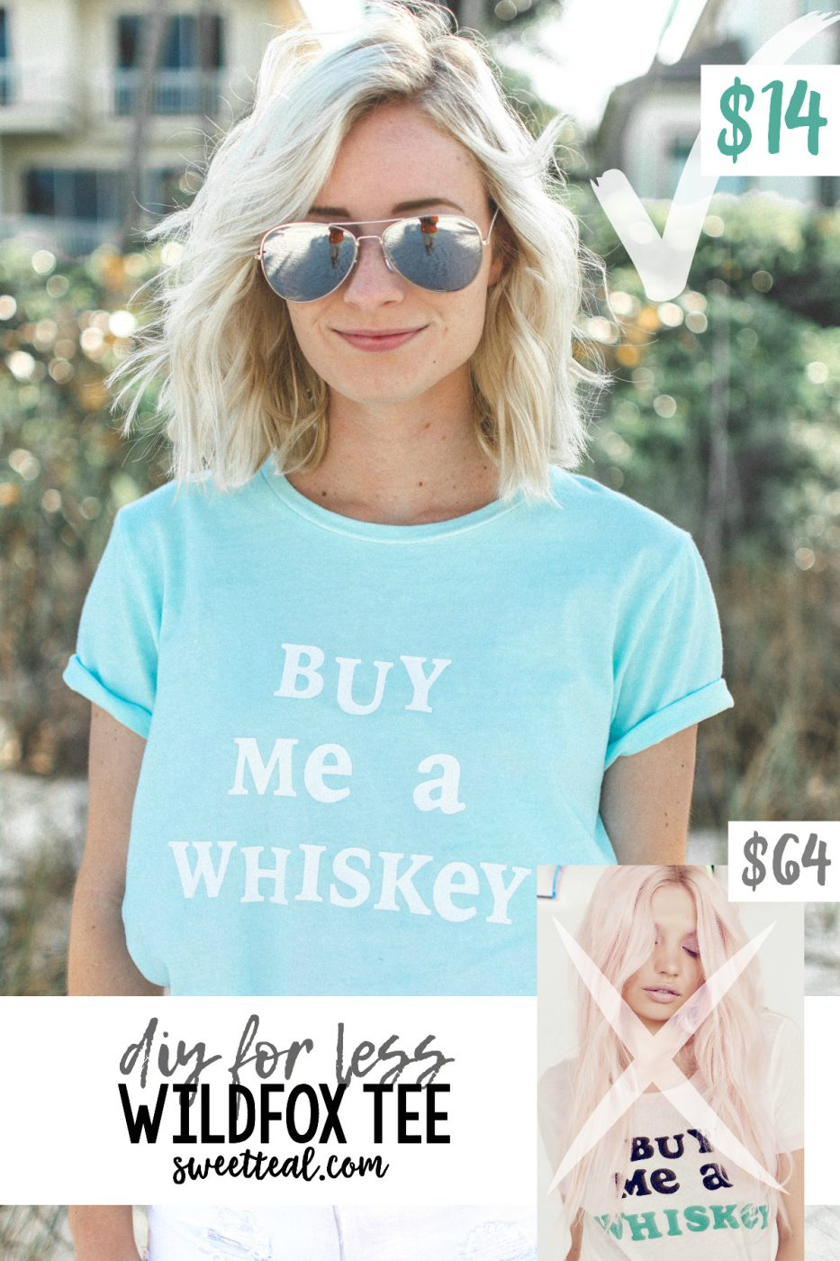 """Buy Me A Whiskey"" DIY FOR LESS Wildfox Tee by Jenny of Sweet Teal"