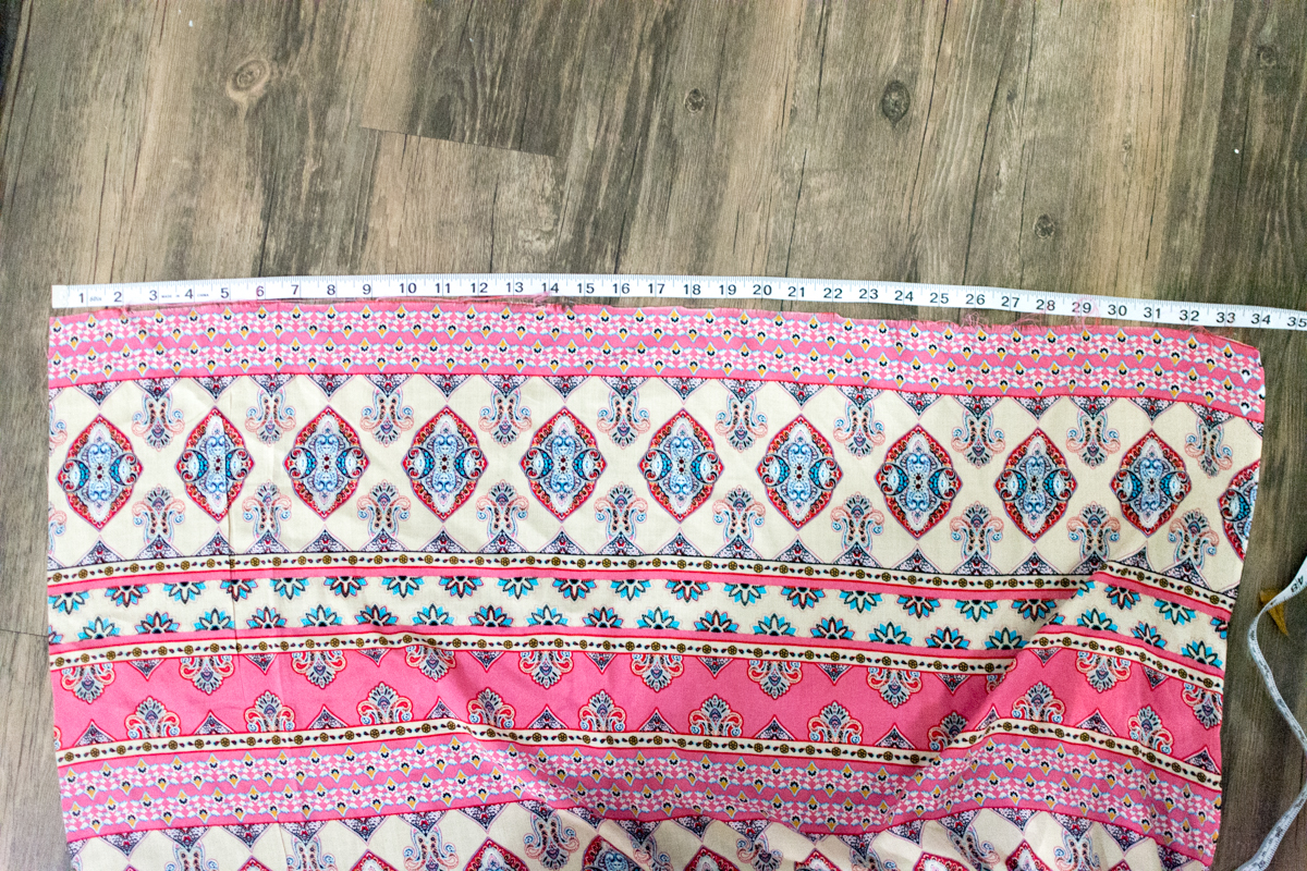 Measuring DIY maxi skirt fabric