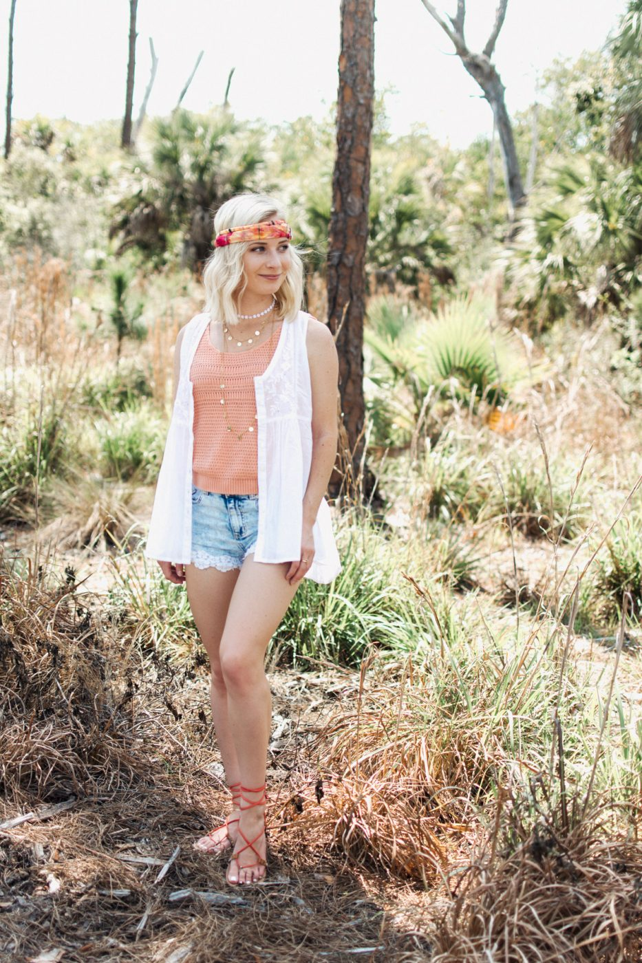 Natural Life Boho Bandeau and white tank top worn by Jenny Bess of Sweet Teal