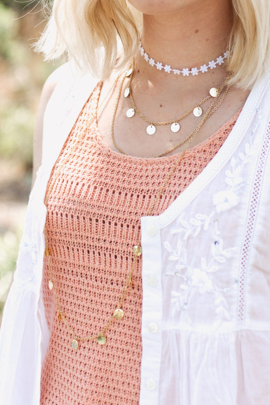 Boho layered necklaces for a festival fashion look by Jenny Bess of Sweet Teal