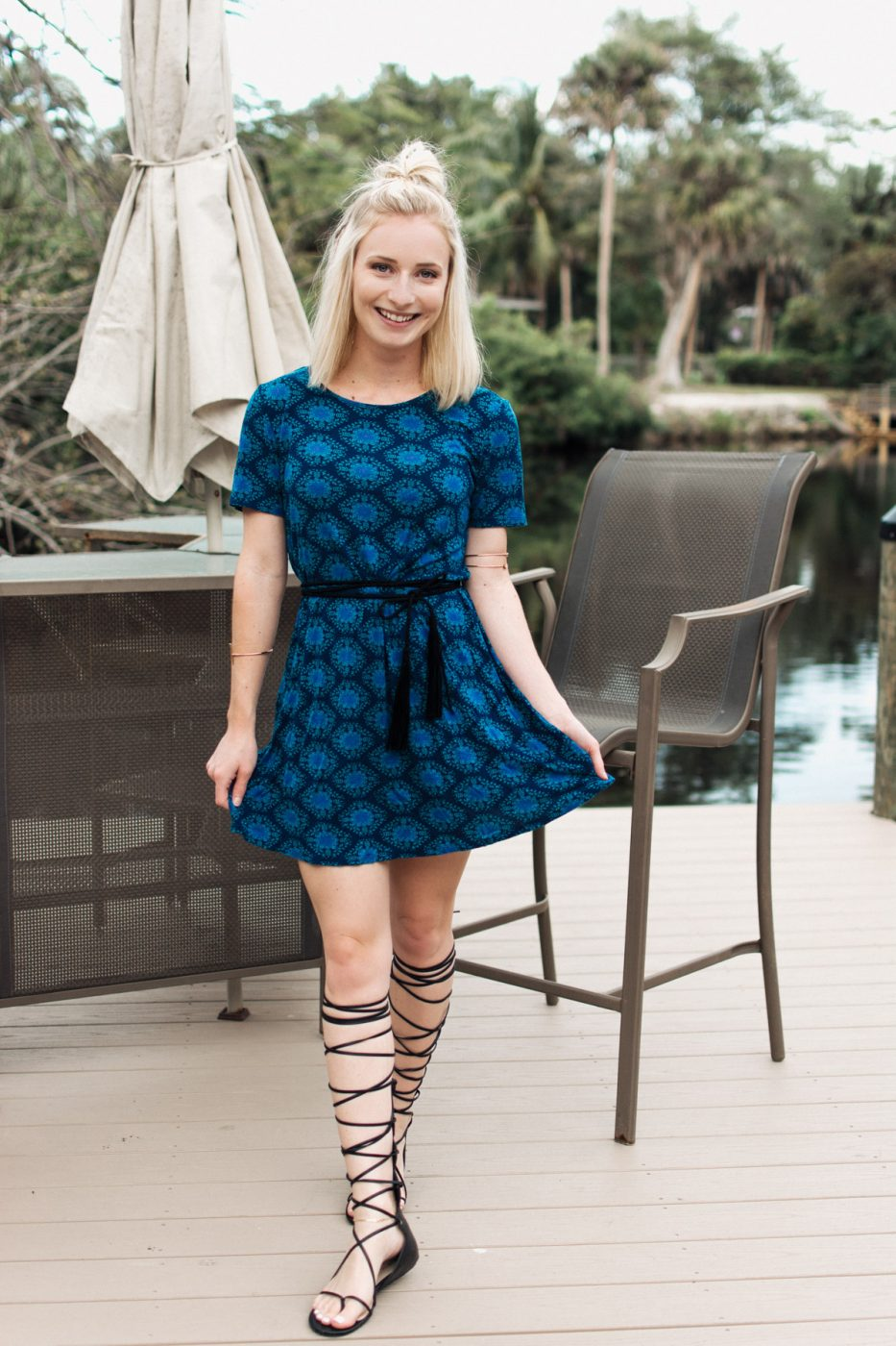 Natural Life blue dress with gladiator sandals worn by Jenny Bess of Sweet Teal
