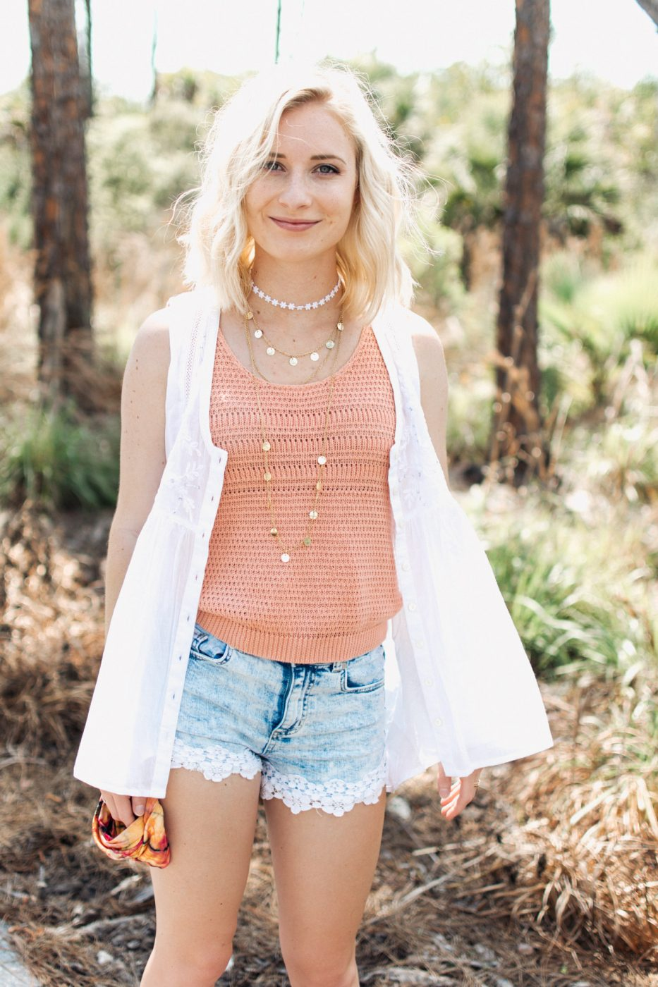 Natural Life white tank top worn by Jenny Bess of Sweet Teal for a festival outfit idea