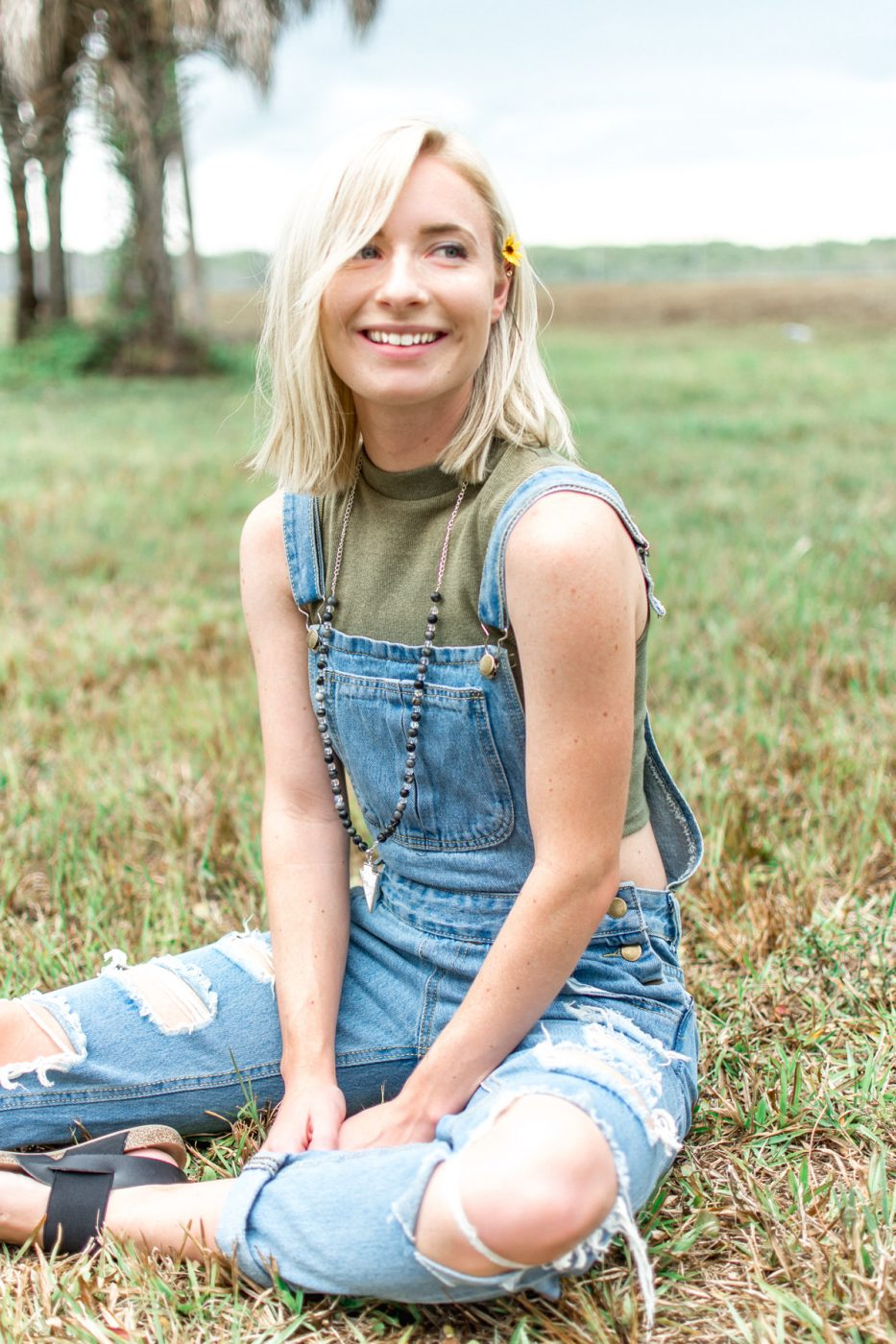 Denim overalls worn by Jenny Bess summer style
