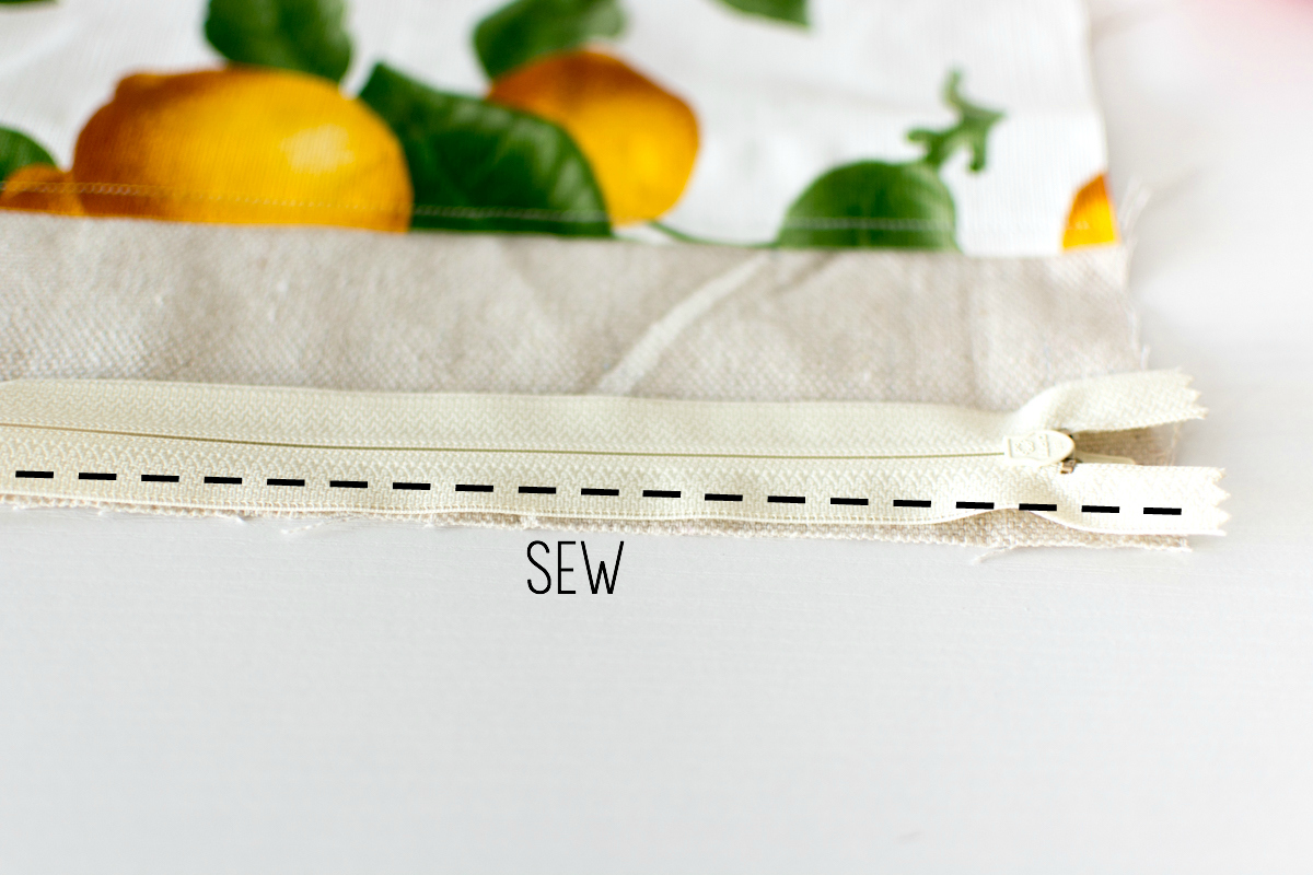 diy lemon pouch zipper sewn on