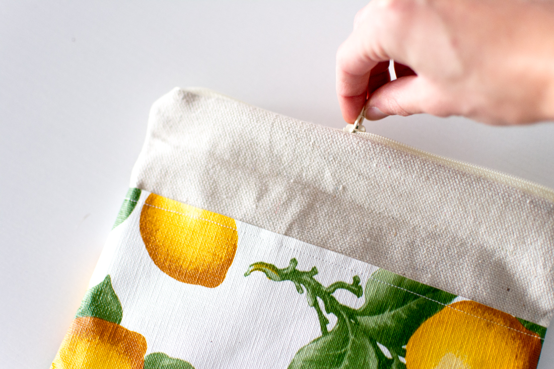 DIY Lemon Pouch by Jenny Bess zipper