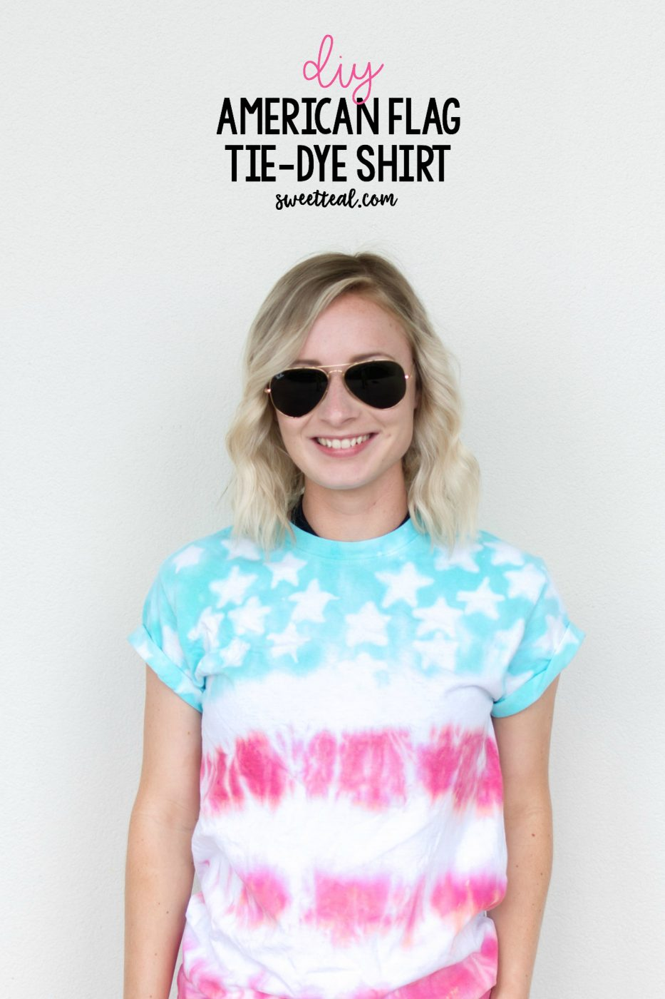 VIDEO TUTORIAL of a DIY American Flag Tie Dye Shirt by Jenny of Sweet Teal