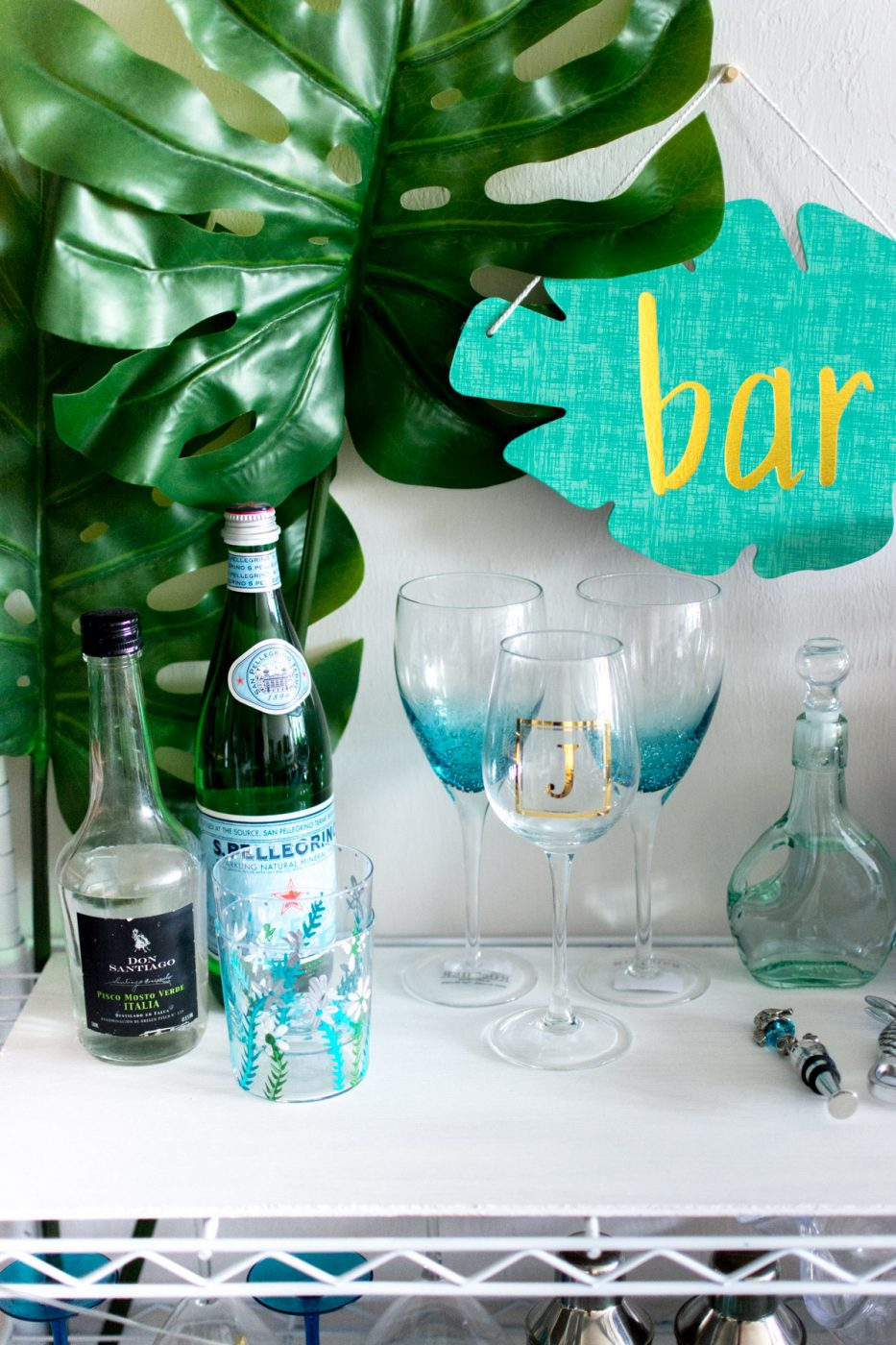 Top of DIY Bar Cart - Sweet Teal