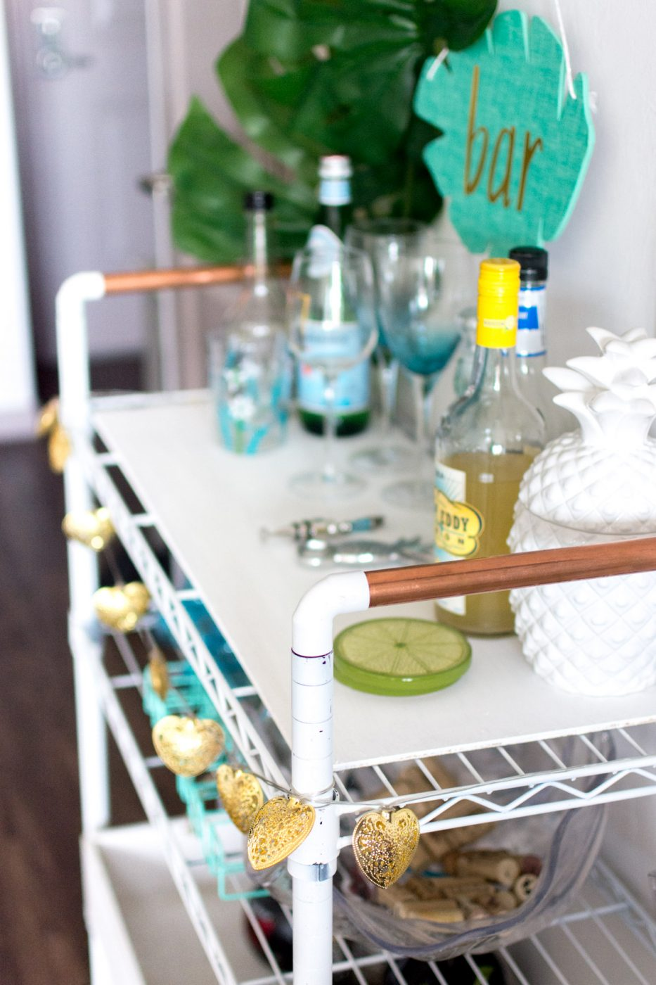 Side view of DIY Bar Cart - Sweet Teal