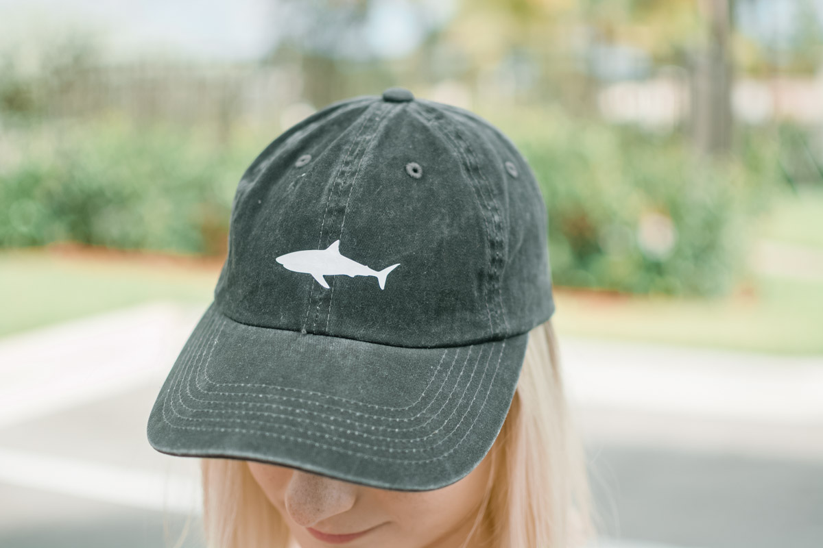 shark vinyl decal on baseball cap by Jenny of Sweet Teal