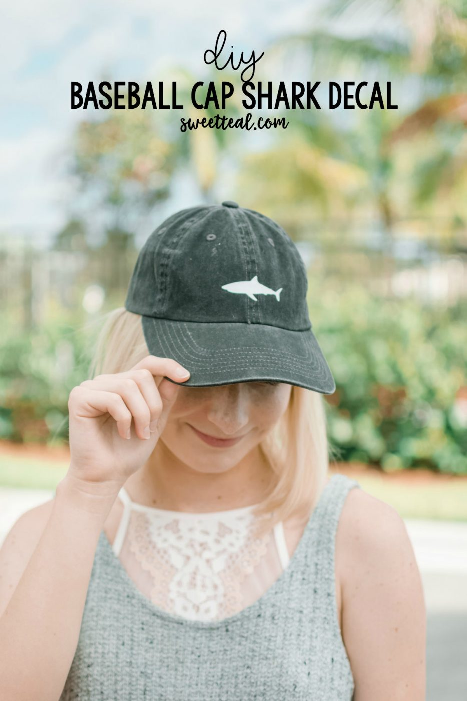 DIY Baseball Cap Shark Decal by Sweet Teal
