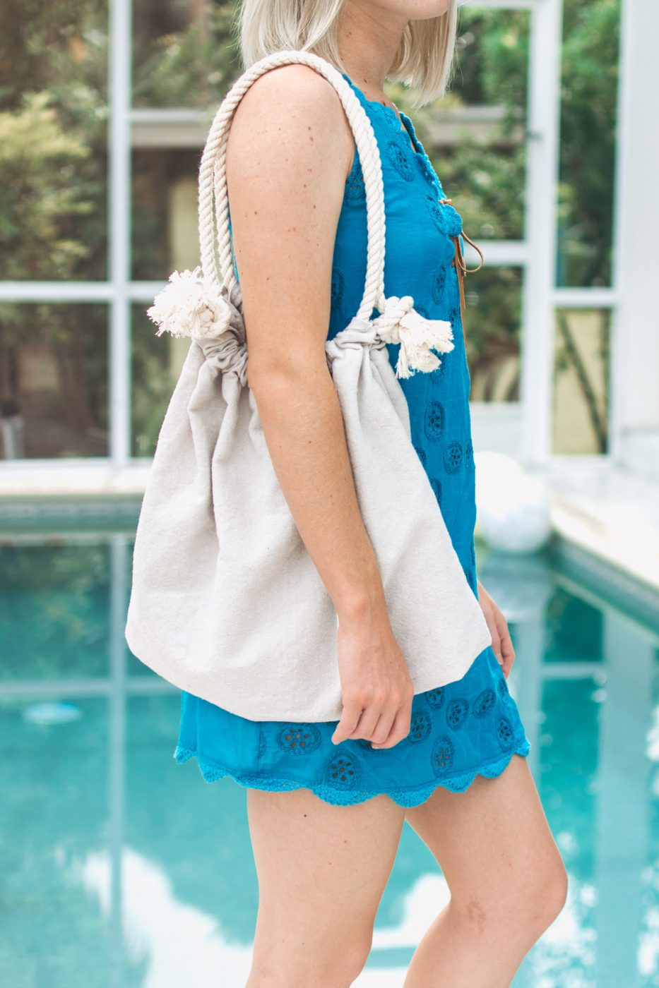 DIY Canvas Beach Bag No Sew by Jenny of Sweet Teal