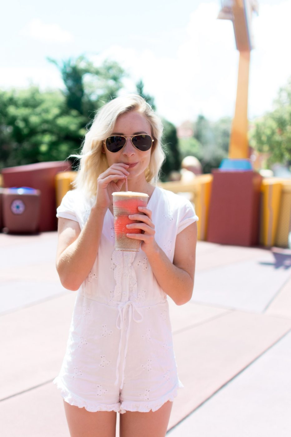 Jenny drinking an Icee at Universal Studios - Sweet Teal