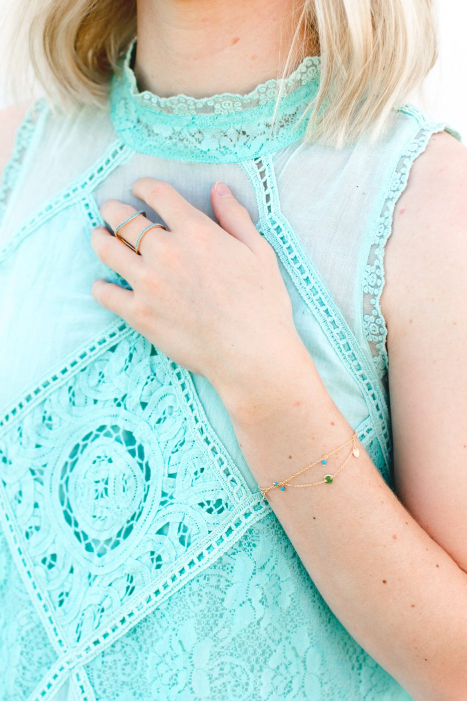 Motif Layered Chain Bracelet and Turquoise Cage Ring on Jenny Bess of Sweet Teal
