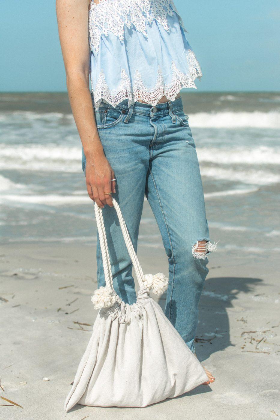 DIY drop cloth beach bag and Levi's - Jenny Bess Sweet Teal