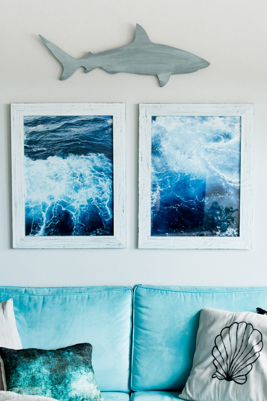 Boho Tropical Living Room Ocean Wall Art - Sweet Teal