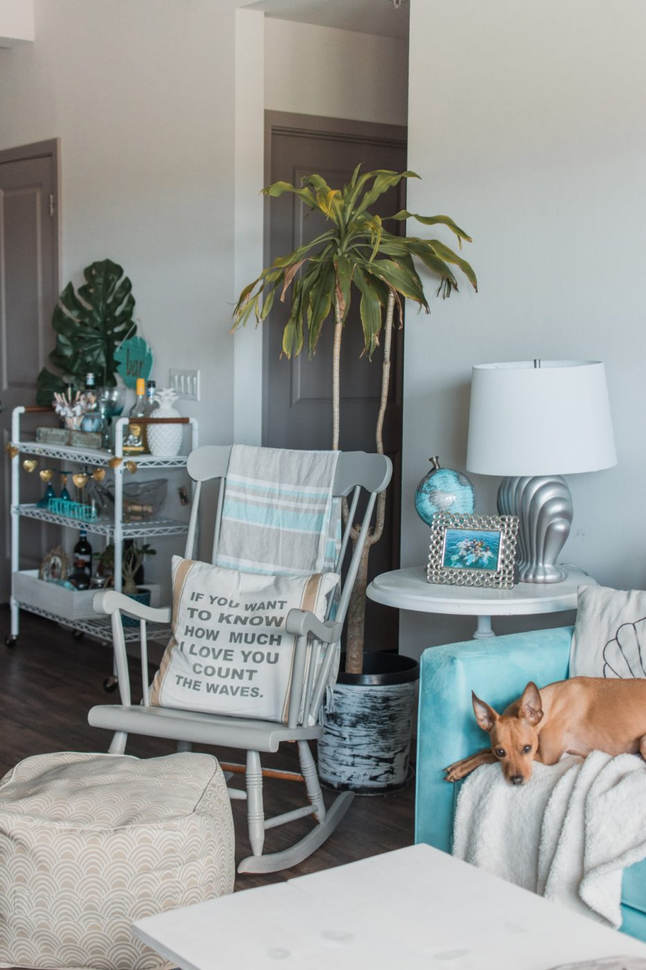 Boho Tropical Living Room with DIY Bar Cart - Sweet Teal