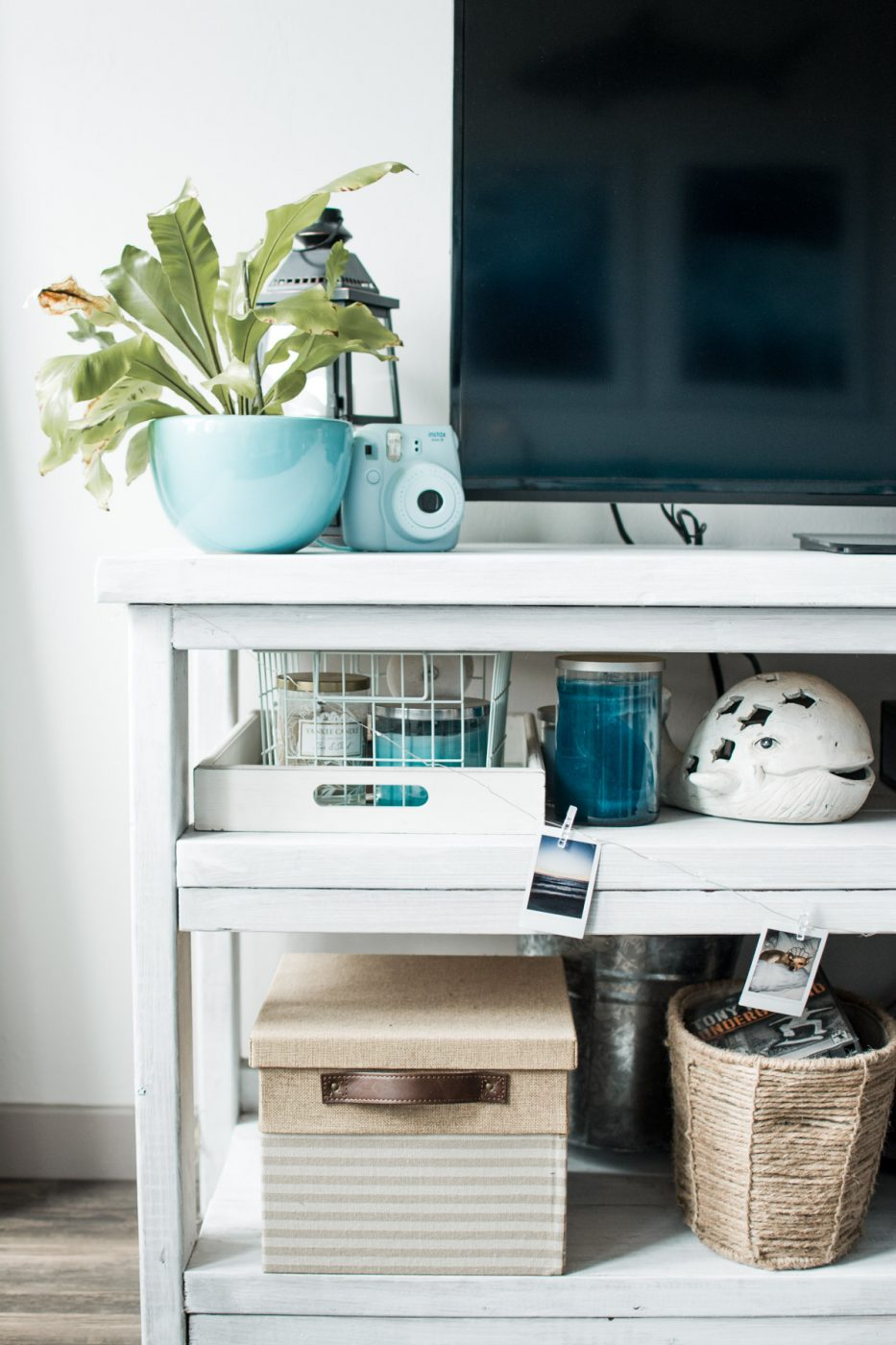 Boho Tropical Living Room TV Stand Decor - Sweet Teal
