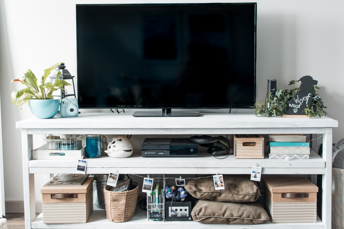 Boho Tropical Living Room - DIY Wood TV Stand by Jenny Bess of Sweet Teal