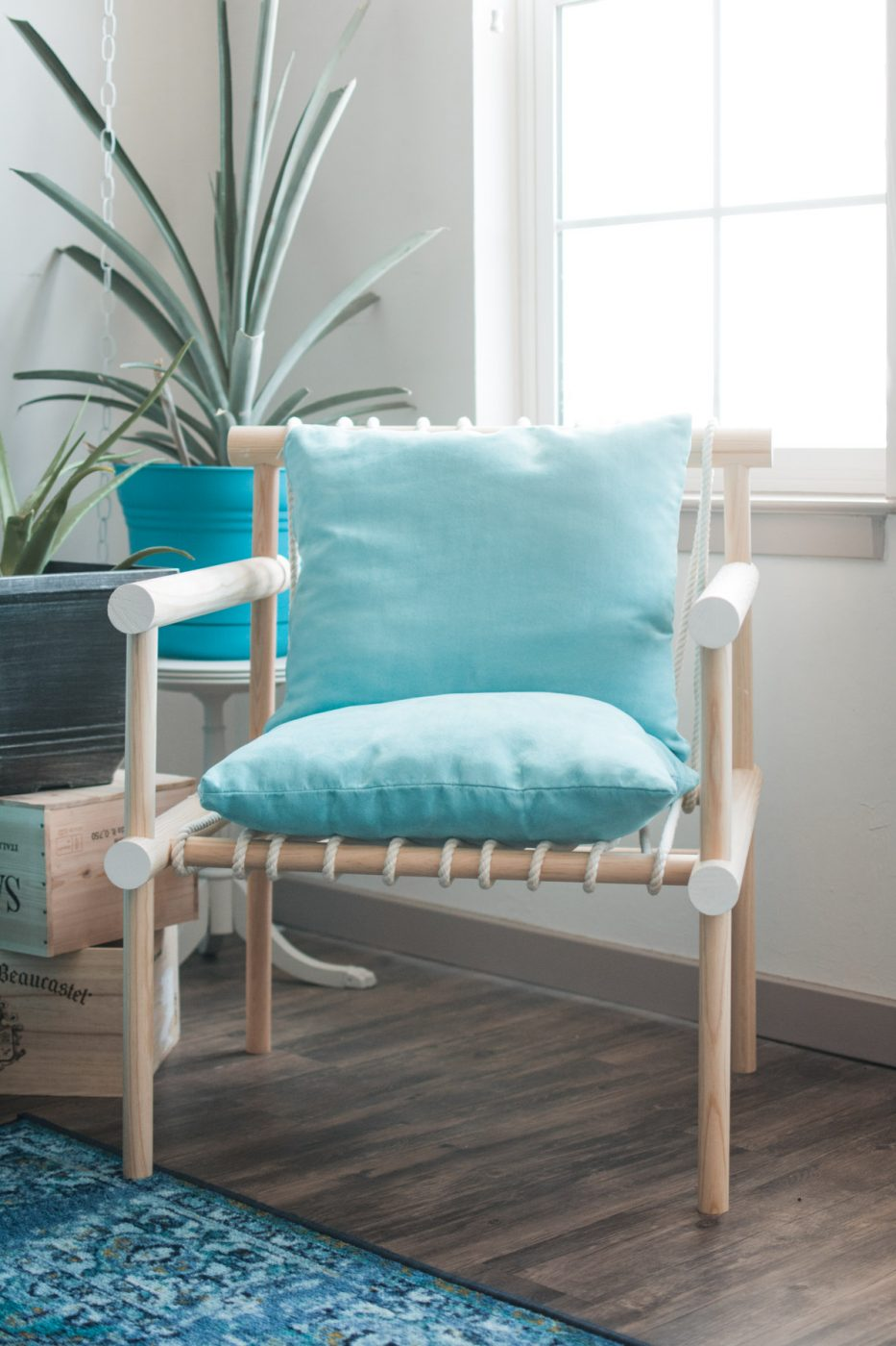 Boho Tropical Living Room Rope & Wooden Dowel Chair - Sweet Teal