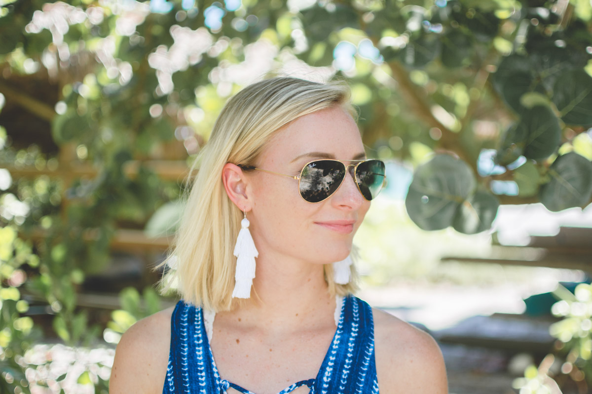 Jenny of Sweet Teal wearing DIY stacked tassel earrings