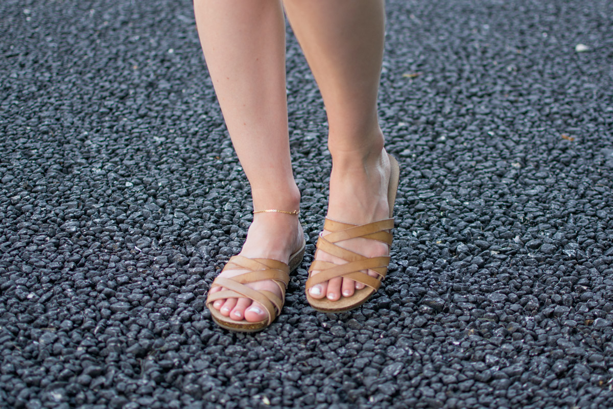Tan strappy sandals worn by Jenny of Sweet Teal
