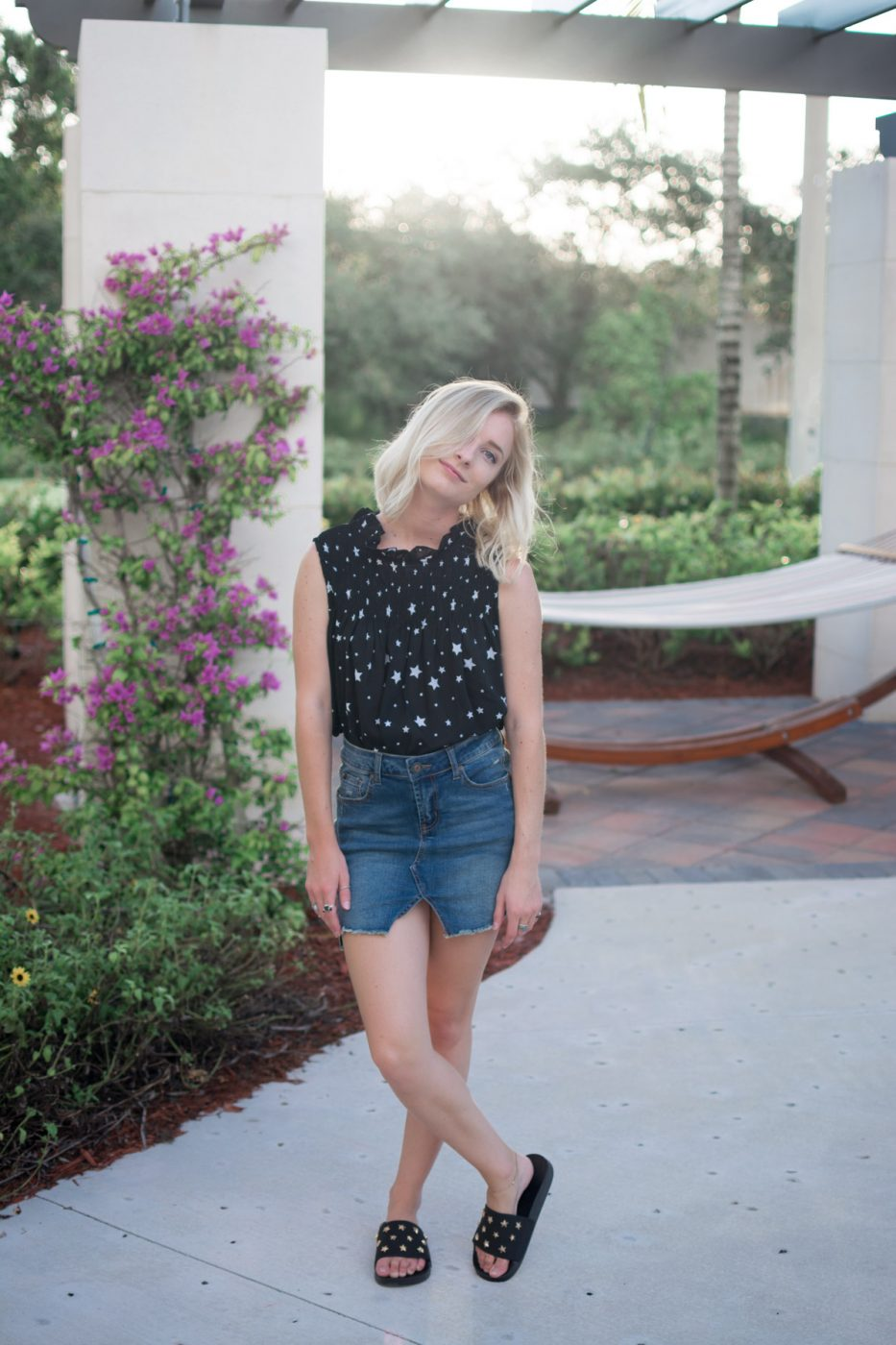 Jenny of Sweet Teal wearing Charlotte Russe Denim Skirt & Star Shirt Outfit