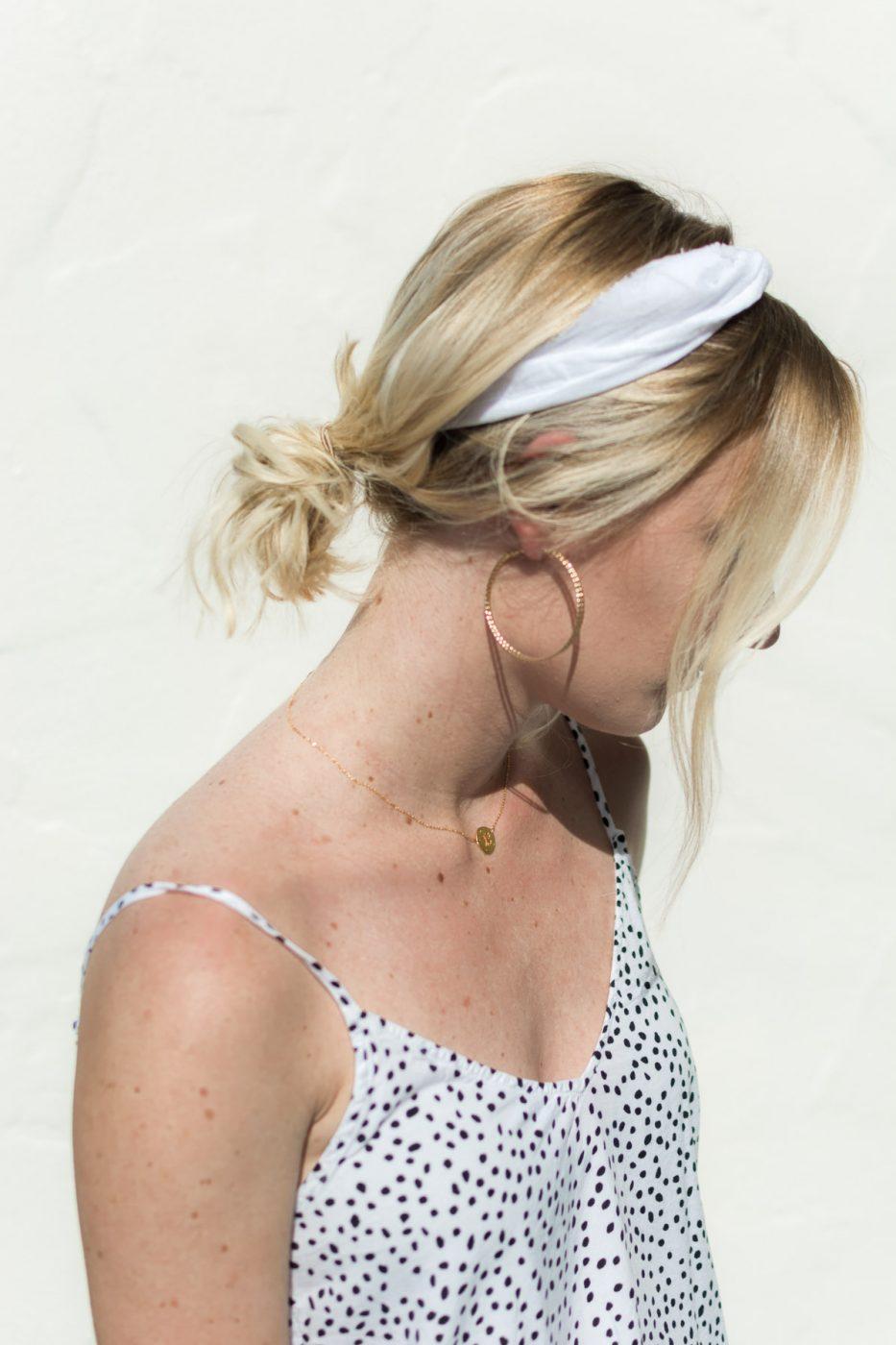 DIY Tie Headband & Hoop Earrings - Sweet Teal