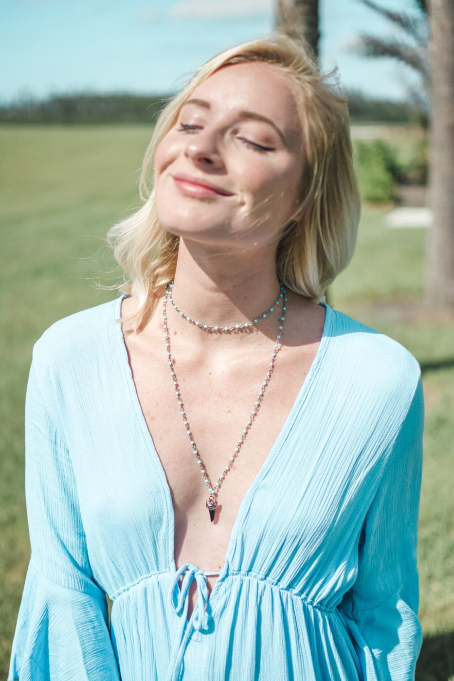 DIY shark tooth necklace with blue dress - Sweet Teal